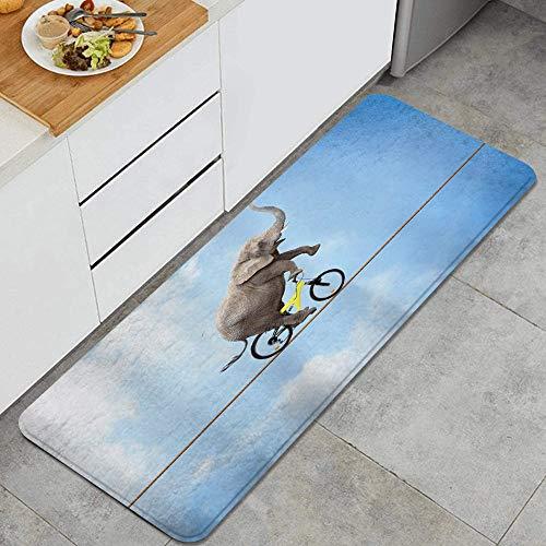 ZORMIEY Alfombras Cocina Lavable Antideslizante Alfombrilla de Goma Alfombra de Baño Alfombrillas Cocina 45x120cm,Acrobacias de Elefante Paseos en Bicicleta en el Cielo Azul de Alambre