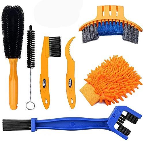 Reinigungsbürste Fahrrad 7 Stück Fahrrad Clean Brush Kit für Fahrradkette/Reifen/Sprocket Radfahren Ecke Fleck Schmutz Clean - Fit für Mountainbike Rennrad City Bike Faltrad etc
