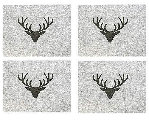 B.o.l.t.z.e 4 x Tischset Hirsch Filz grau 45 x 35 cm, Deko, Sets (Hirschkopf (4-teilig))