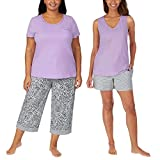 Carole Hochman Ladies' 4-piece Cotton Pajama Set Short Sleeve Top, Tank Top, Short, and Capri Pant with pocket, Solid and Floral Sleepwear for women (XL, Purple-Lavender)