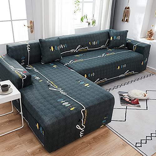 WXQY Funda de sofá elástica de Esquina en Forma de L, Funda de sofá Antideslizante Todo Incluido Bien Envuelta, Funda de sofá de protección para Mascotas A49 de 3 plazas