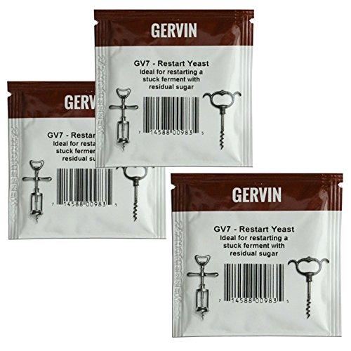 3 x Gervin ReStart drożdże GV7 do fermentacji zablokowanych najwyższej jakości 5 g 5-23 l