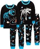 Boys Dinosaurs Pajamas Christmas Children Glow in The Dark T-rex Jammies Cotton Long Sleeve Pants Set Size 7