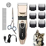 Eguled Dog Grooming Clippers Kit Electric Low Noise Quiet Rechargeable Trimmer Cordless Hair Shaver blader Shears Set Professional Tool Scissors Combs for Pet Cat