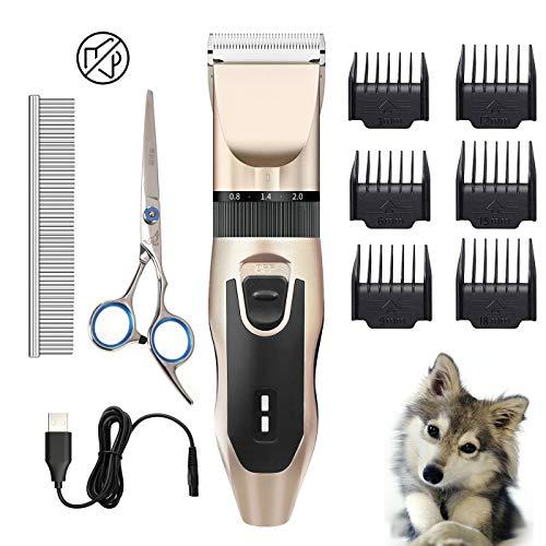 Eguled Fellpflege-Set für Hunde, elektrisch, geräuscharm, leise, wiederaufladbar, schnurlos, Rasiermesser, Rasiermesser, Schere, Kämme für Haustiere und Katzen