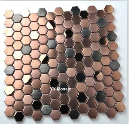 Azulejos de mosaico de acero inoxidable con cepillo hexagonal de 23 mm, color negro mezclado en oro rosa, azulejos de pared para chimenea, para tienda creativa (color: 1 pieza de 300 x 300 mm)