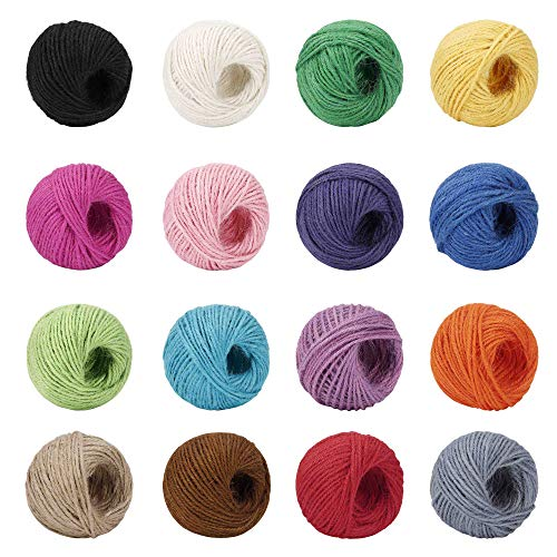 Cuerda de Cáñamo Colorido Cuerdas de Yute Natural 16 Colores 2 mm 3 Capas para Artesanía Manualidades Decoraciones Totalmente, 400m en Total