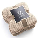 Kingole Flannel Fleece Luxury Throw Blanket, Beige Twin Size Jacquard Weave Pattern Cozy Couch/Bed Super Soft and Warm Plush Microfiber 350GSM (66 x 90 inches)