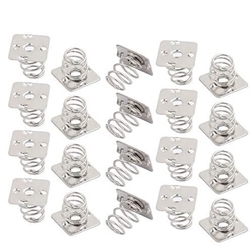 New Lon0167 20 stuks zilverkleurige metalen batterijveerplaatenset voor AAAA-batterijen NEG-veer(20 Stück Silberfarben-Metall-Batterie-Federteller-Set für AAAA-Batterien NEG-Frühling)