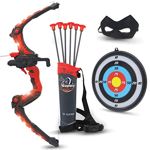 Bow and Arrow for Kids - Red Light Up Kids Archery Set with MASK, 6 Suction Cup Arrows, Target, 3-Belt Quiver - Indoor Outdoor Boys Toys - Gift for Kids Girls Children Age 6 7 8 9 10-12 Year Old