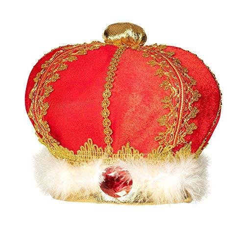 Boland 01237 - Hut König, Krone, Krönung, Zeremonie, rot, Samt, weich, gold, Edelsteine, Karneval, Halloween, Fasching, Mottoparty, Verkleidung, Theater, Accessoire