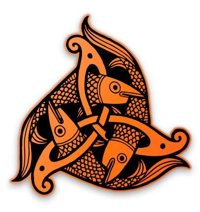 Celtic Tribal Fish Celtic - 16' - Large Size Vinyl Sticker - for Truck Car Cornhole Board