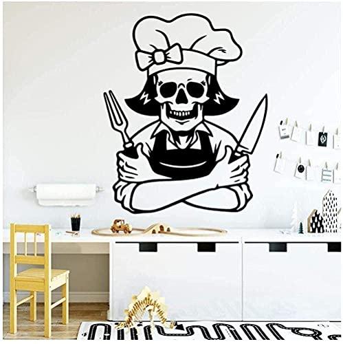 Etiqueta De La Pared Tatuaje De La Pared De Moda Cráneo Chef Vinilo Impermeable Decoración Del Hogar Etiqueta De La Pared Calcomanía Decorativa 57X69Cm