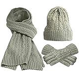 FEOYA Lot de 3 PCS Ensemble Bonnet + Echarpe + Gants Tricot Femme Chapeau en Laine et Acrylique Hiver Chaud Gris