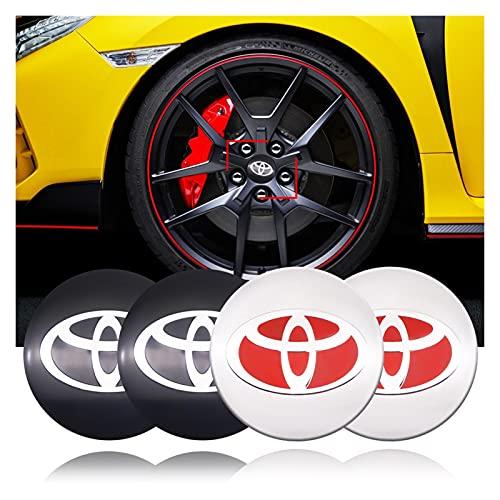Tapas De Cubo De Centro De Rueda tapas de cubo ce 4PCS Coche Coche Centro Hub Cap Pegatina Cubierta de neumáticos Pegatinas de distintivo Emblema Compatible con Toyota Camry Chr Corolla Rav4 FJ Cruise