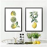 GUOCHEN Wandkunst, gelbe Zitrone Leinwand Malerei Sommer