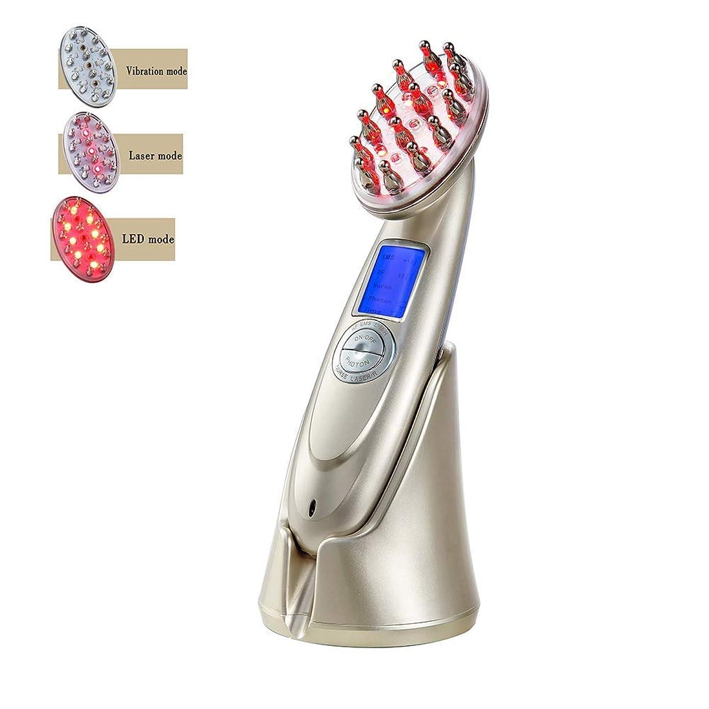 きらめくムス小石プロの電気毛の成長レーザーの櫛は RF の EMS LED の光子ライト療法のヘアブラシの反毛の損失の処置マッサージ器の毛の再生のブラシ