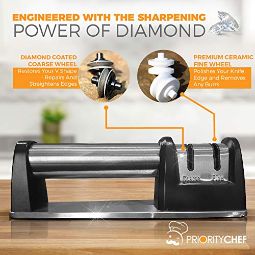 PriorityChef Knife Sharpener for Straight and Serrated Knives, 2-Stage Diamond Coated Wheel System, Sharpens Dull Knives Quickly, Safe and Easy to Use