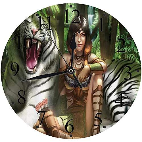 LUHUN Reloj de Pared Moderno,Jungle Queen Sexy Mujer y Tigre Blanco en Bosque Guapo cómic verdereloj de Cuarzo de Cuarzo Redondo No-Ticking para Sala de Estar 30 cm
