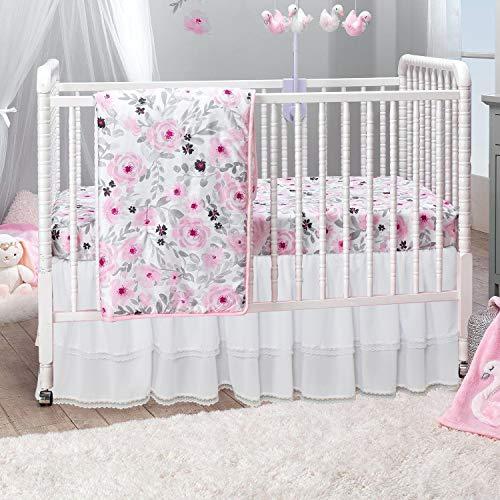 Bettrock für Babybett, Rüschen, mit Spitzenbesatz, für Jungen und Mädchen, 52 x 71 x 38 cm, Weiß