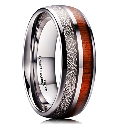 King Will METEOR 8mm Mens Tungsten Carbide Wedding Ring Imitated Meteorite Koa Wood Inlay Comfort Fit 11.5