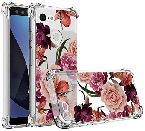 Osophter Compatible with Google Pixel 3 Case,Pixel 3 Flower Case Shock-Absorption Flexible TPU Rubber Soft Silicone Full-Body Protective Cover for Google Pixel3 (Clear Flower)