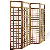 Festnight Biombo Separador de Ambientes Divisor Plegable de 4 Paneles, Diseño Enrejado Madera Maciza de Acacia 160x170cm