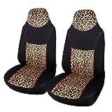 AUTOYOUTH 2 fundas de asiento delantero de tela de terciopelo con diseño de leopardo, para la mayoría de los coches, SUV, camiones (2 unidades), color negro