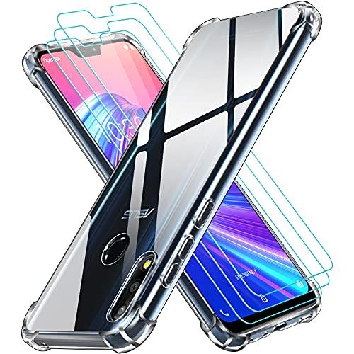 ivoler Funda para ASUS Zenfone MAX Pro M2 ZB631KL 6.26 Pulgadas con 3 Unidades Cristal Templado, Carcasa Protectora Anti-Choque Transparente, Suave TPU Silicona Caso Delgada Anti-arañazos Case