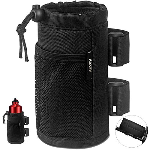 Bike Cup Holder Bicycle Handlebar Cup Holder Bicycle Water Bottle Holder Drink Holder with Mesh Pockets Adjustable for Cruiser Mountain Fixed Gear Folding Road Bikes Wheelchair Camper Stroller
