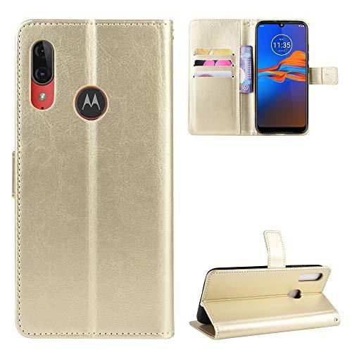 Snow Color Moto E6Plus Hülle, Premium Leder Tasche Flip Wallet Case [Standfunktion] [Kartenfächern] PU-Leder Schutzhülle Brieftasche Handyhülle für Motorola Moto E6 Plus - COBYU030813 Gold