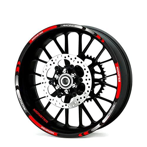 12 PCS Fit Motorcycle Wheel Pegatina Raya Remolque reflexivo para Ducati Monster 695 696 796 1100 1100s 797 821 79 (Color : 1)