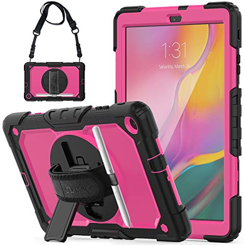 SEYMCY Galaxy Tab A 10.1 2019 SM-T510/T515 Case Heavy Duty Rugged Shockproof Protective Case 360 Degree Rotating Stand, Hand Strap Shoulder Strap Case for Tab A 10.1 2019 SM-T510/T515 (Black/Pink)