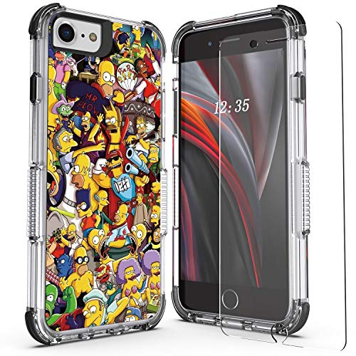 WZOKA for iPhone SE 2020 Case, iPhone 6 Case, iPhone 7 Case, iPhone 8 Case with Tempered Glass Screen Protector, Shockproof Case with Heavy Duty Bumper (Simpsons Yellow)
