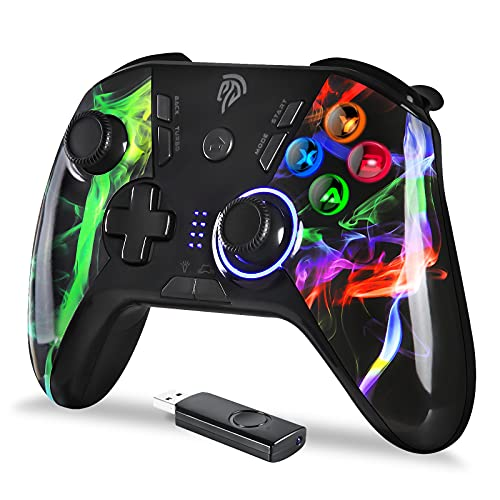 【2021アップグレード版】EasySMX 無線PS3/PCゲームパッド ワイヤレス パソコンゲーミングコントローラー Turbo連射 HD振動 背面ボタン LEDライト搭載 Windows/PS3/Switch/Android/TV Boxに対応(カラフル)