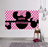 Minnie Mouse Birthday Backdrop, Minnie Mouse Birthday Banner, Minnie Mouse Photography Background, Minnie Mouse Birthday Party Supplies Decoration (6.6 x 3.3 ft)
