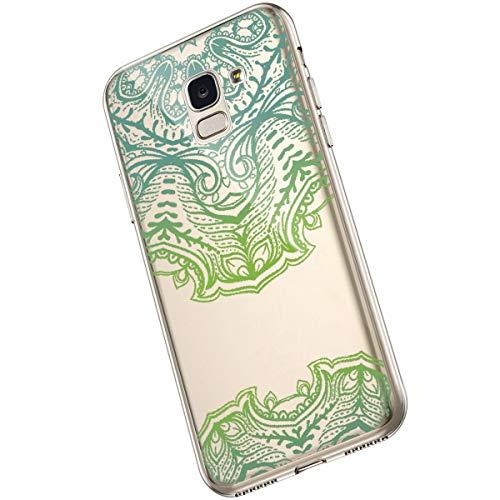 Saceebe Compatible avec Samsung Galaxy A6 2018 Coque Clair Souple TPU Gel Silicone Mandala Fleur Motif Dessin Antichoc Housse de Protection Souple Mince Léger Case Anti-Rayures,Vert