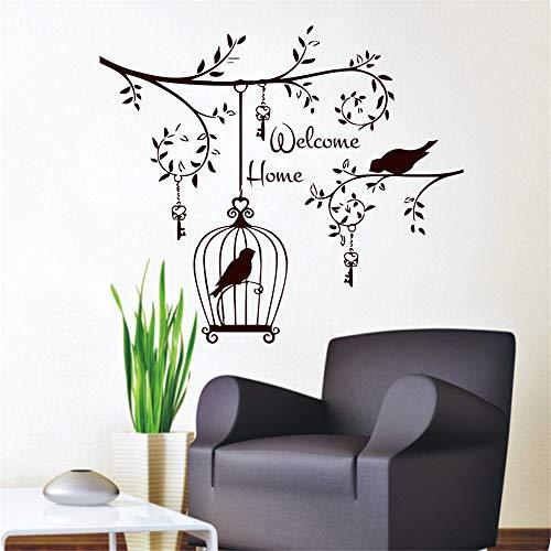 59x70cm, pegatinas de pared para niños, arte de tatuajes de pared, Welcom Pájaros decorativos en el árbol Llaves colgantes y jaula de pájaros Refrigerador Mural Dormitorio Pegatina de Navidad Obra de