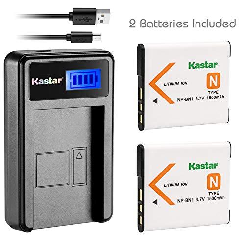 Kastar Battery (X2) & LCD Slim USB Charger for Sony NP-BN1 NPBN1 BC-CSN and Cyber-Shot DSC-QX10 QX30 QX100 DSC-TF1 DSC-TX10 TX20 TX30 DSC-W530 DSC-W570 DSC-W650 DSC-W800 DSC-W830 Digital Camera +More