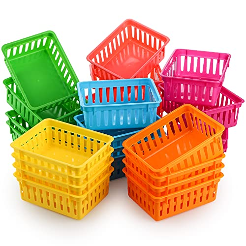 DEAYOU 24 Pack Classroom Storage Baskets, Small Plastic Baskets for Organizing, Colorful Storage Trays, Crayon Pencil Containers Organizer Bins for Desk, Drawer, Home, Office, 6.1