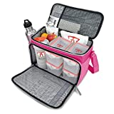 Fitmark the Box LG Large Meal Prep Insulated Bag with Portion Control Meal Containers, Reusable Ice Packs, Pink