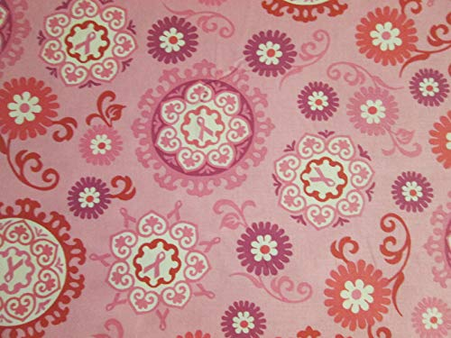 Quality Fabric MOD Breast Cancer Ribbons in Pink Flowers Relay for Life 100% Cotton Fabric Sizes: Fat Quarter (18'' x 22'')