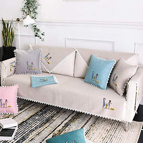 YUTJK Happy Family Chenille Sofa Mat,Sofa Protector,Sofa Covers That Fit Most Sofas,Easy to Use,sold by piece,Khaki