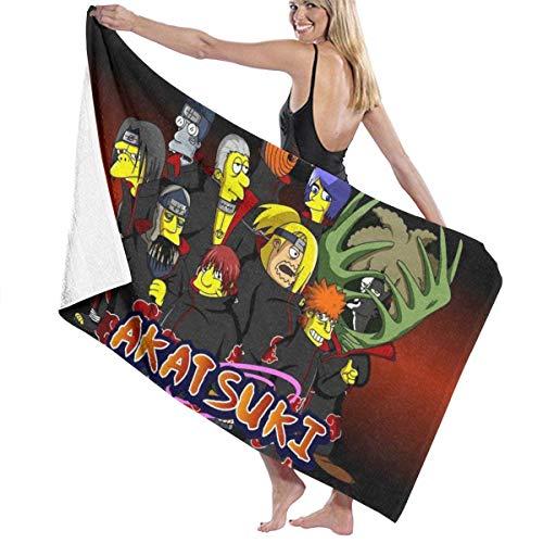 FETEAM Naruto Akatsuki Simpson Toalla de baño Toalla de Playa Uso como Yoga Viajes Camping Gimnasio Toallas de Piscina en Carrito de Playa Sillas de Playa Talla única