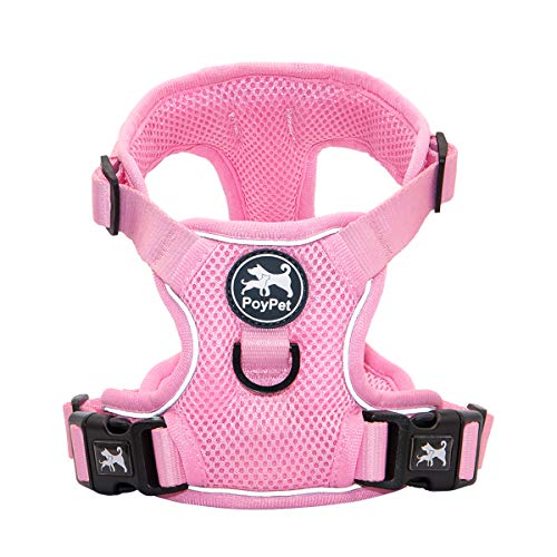 PoyPet Reflective Soft Breathable Mesh Dog Harness No Choke Double Padded Vest Adjustable(Light Pink,XS)