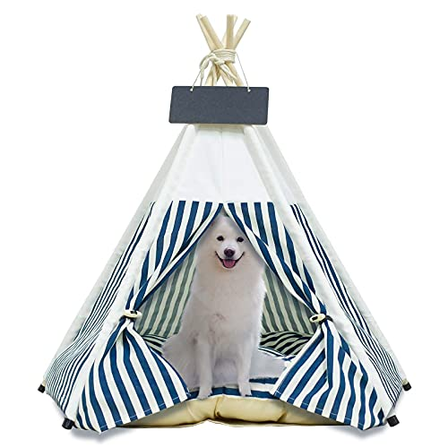Arkmiido Haustierzelt für Hunde Welpe Katze mit Bett, Canvas-Hundehütte, Pet Tipi mit Kissen 60CM, Drinnen draußen (Weiß)