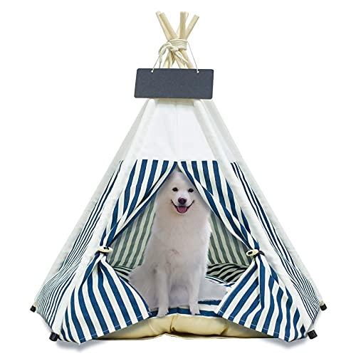Arkmiido Tienda para Mascotas con Cama, Casa de Lona para Perros y Gatos, Tipi para Mascotas con cojín de 60 cm, Bajo Techo, en exteriors. (Blanco)