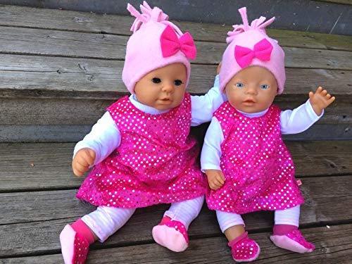 Puppenkleidung handmade Glitzer pink passend für Gr. 43 cm Baby Puppe little Chou Krümel ODER Gr. 46-48 cm für Annabell Chou NEU