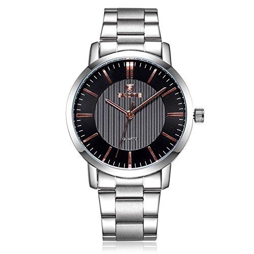 SKONE Herren Business Uhr Silber Farbe Band Schwarz Zifferblatt Gold Pointers sj505001
