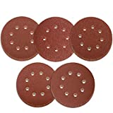 Leslady 60 Piezas Discos de Lija 125 mm con Velcro Papel Abrasivo Autoadhesivos para Lijadora Orbital 8 Agujeros Grano Cada 12 x 40/60/80/100/120